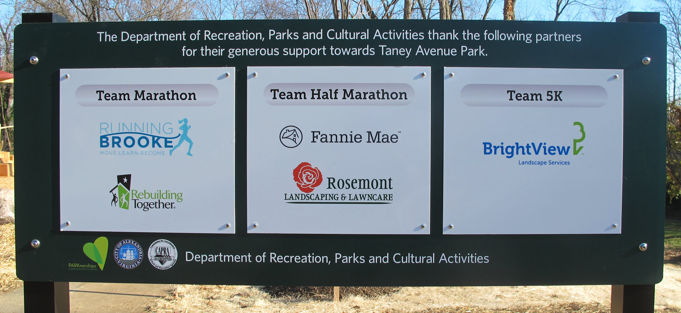 Taney Avenue Park Sign